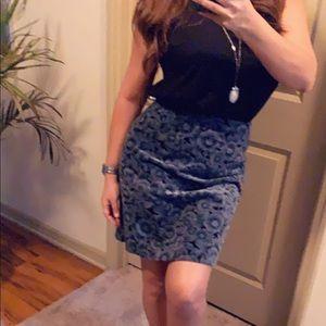 Ann Taylor Stretch Skirt,black/blue & gray flowers